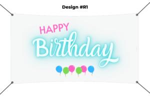 custom vinyl banner printing template - happy birthday