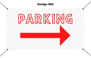 custom vinyl banner printing template - parking red
