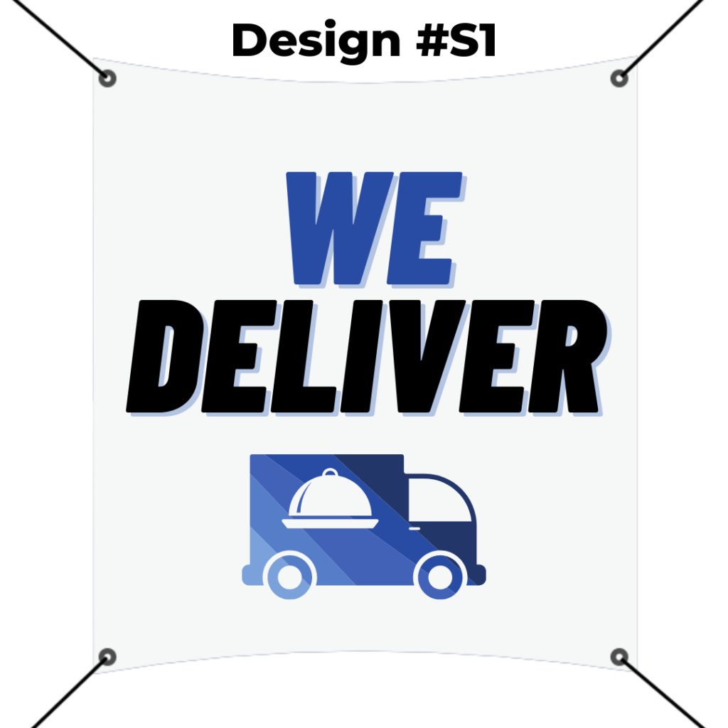 custom square banner printing template - we deliver blue