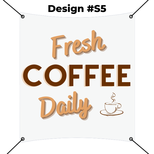 square banner printing template - fresh coffee daily