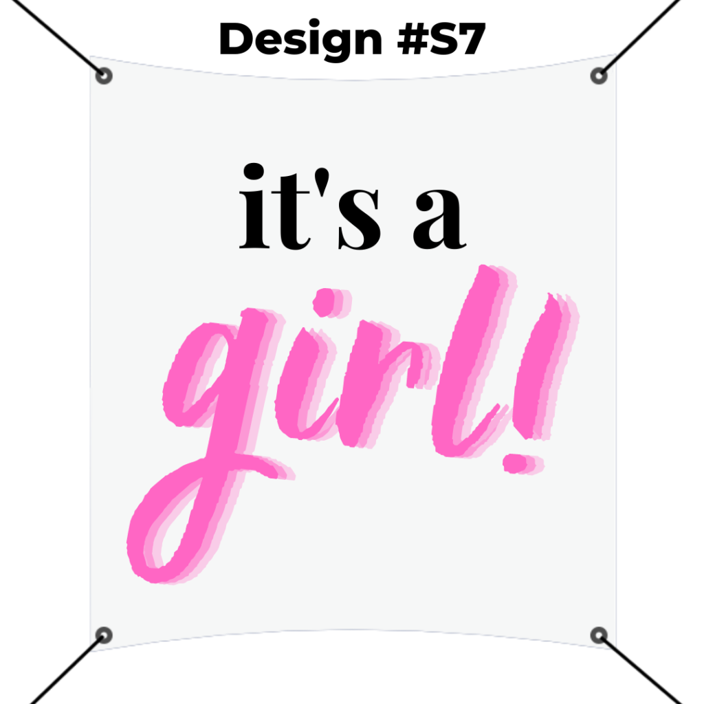 custom square banner printing template - it's a girl