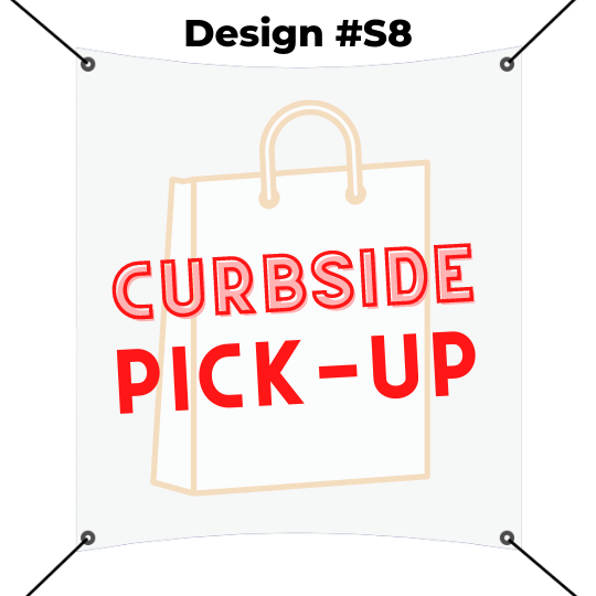 square banner printing template - curbside pickup red