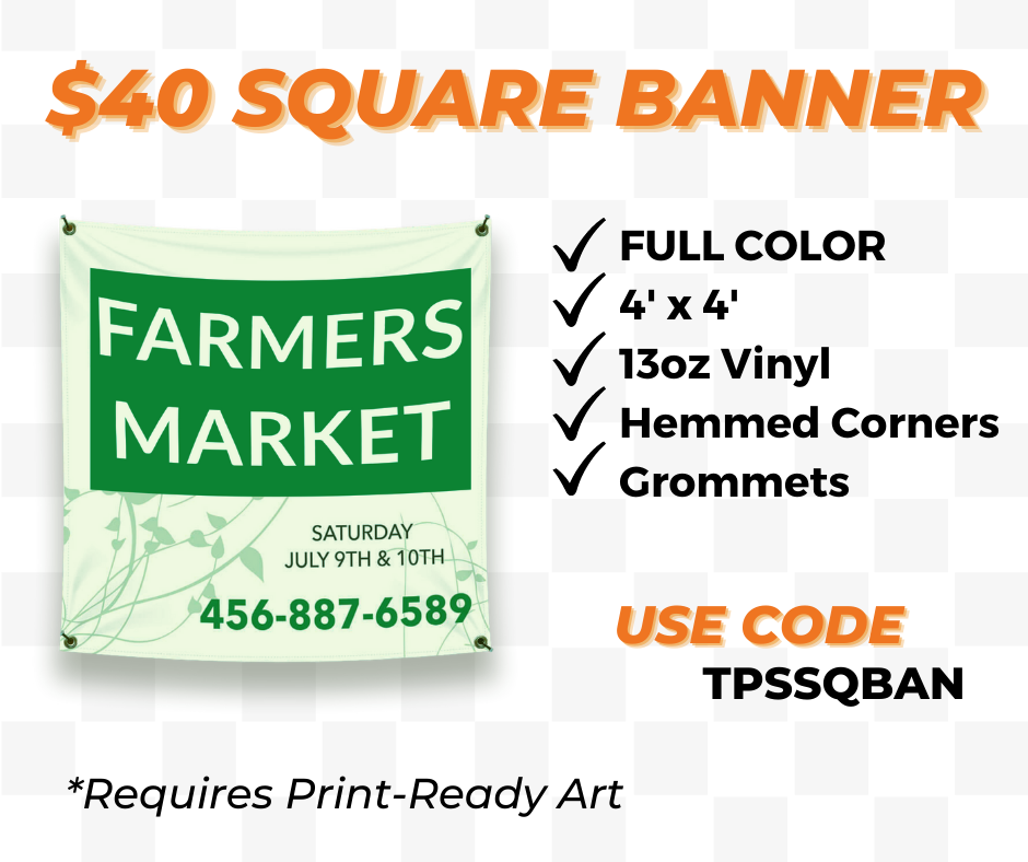 4 x 4 square vinyl banner printing special
