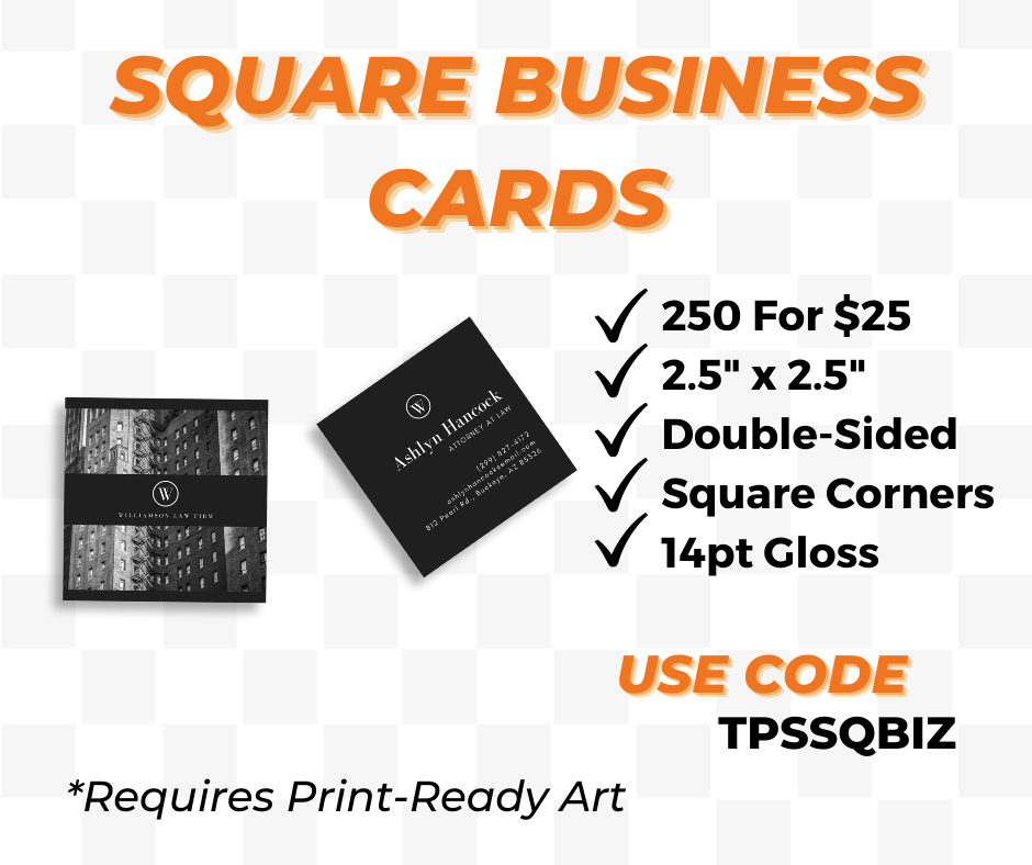 square business card printing special
