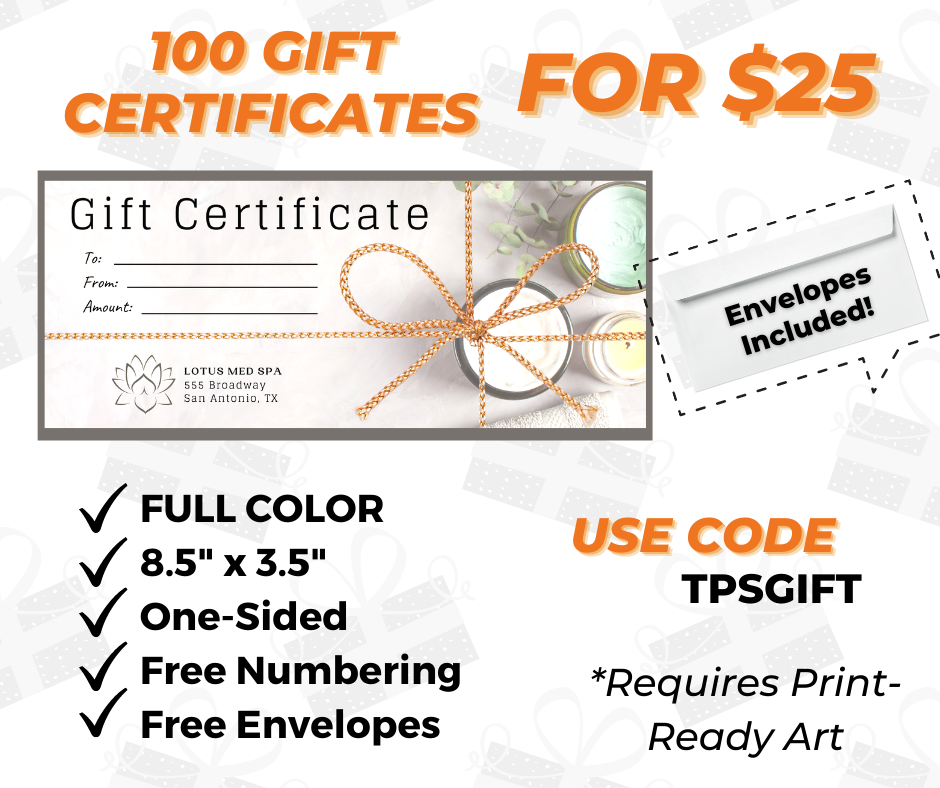 custom gift certificate printing special