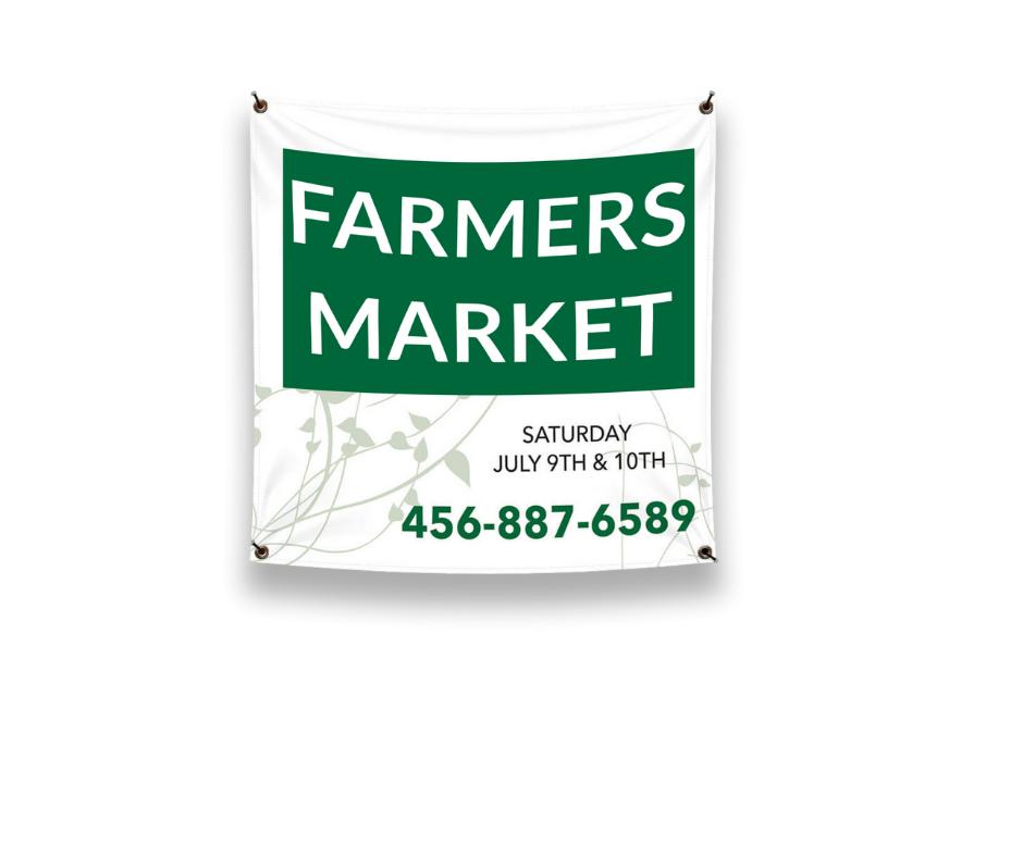 custom square vinyl banner - farmers market