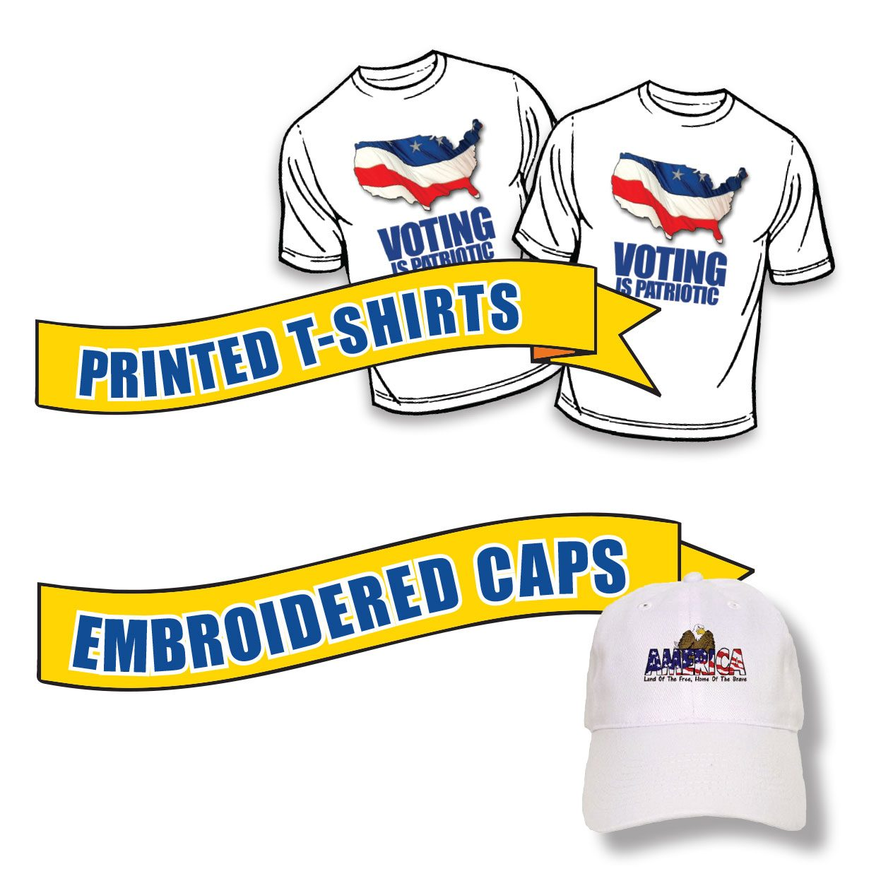 custom t shirt and cap printing for campaigns